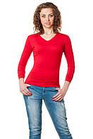 Женская однотонная футболка прилегающего кроя c длинным рукавом и V-образным вырезом, красная