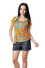 Женская футболка по фигуре, с широким округлым вырезом, из вискозы в яркий принт, бело-оранжевая