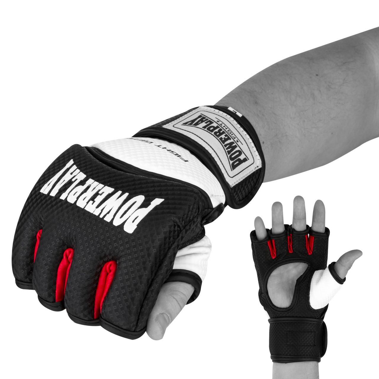 Перчатки для MMA PowerPlay 3075 Черные-белые XS / S / M / L