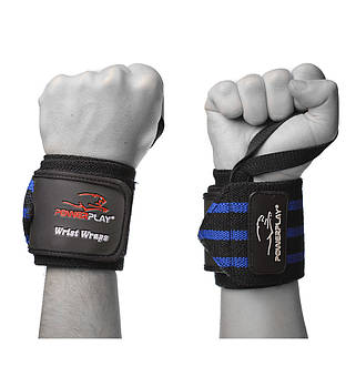 Бинты для запястий PowerPlay 3082 Черно-Синие Level 2