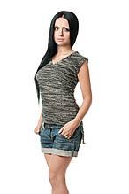 Женская футболка прилегающего кроя из гипюра, без рукавов, с V-образным вырезом, меланж