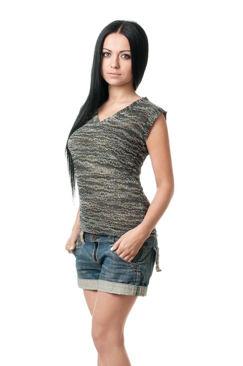 Жіноча футболка прилеглого крою з гіпюру, без рукавів, з V-подібним вирізом, меланж
