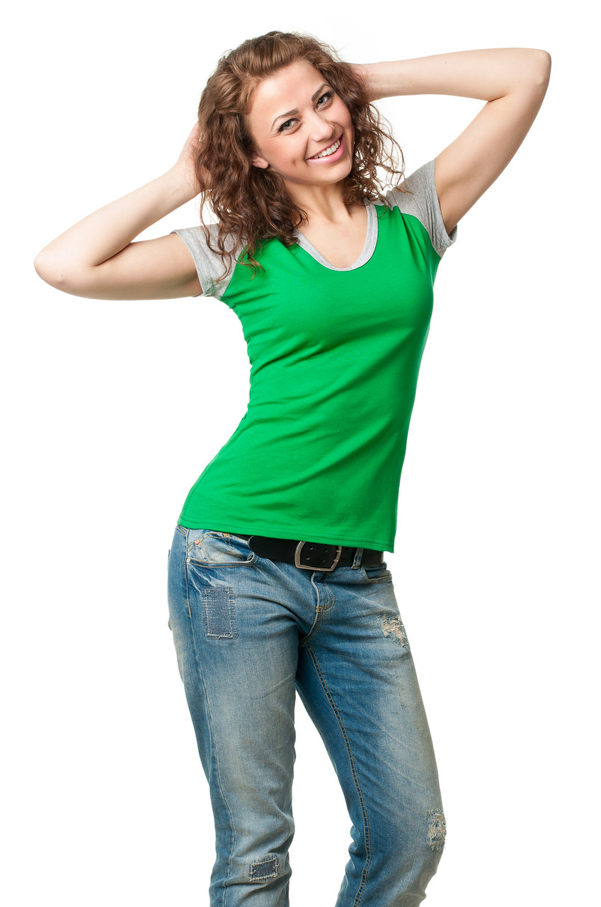 Жіноча приталені футболка з V-подібним вирізом, відкладення горловини і рукава виконані з матеріалу,