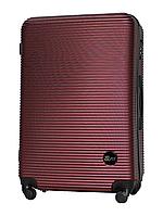 Большой чемодан 75х49х29 см 90л Fly 91240 пластиковый на 4 колесах Бордовый