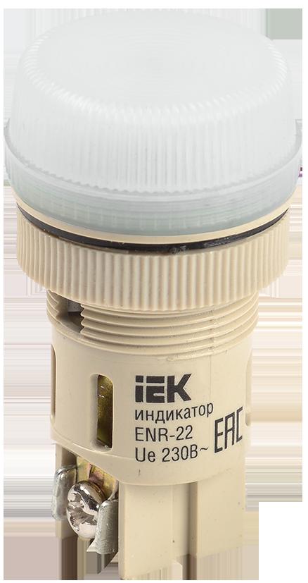 Лампа ENR-22 сигнальная d22мм белый неон/240В цилиндр ИЭК