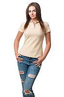 Женская футболка-поло классического кроя по фигуре, бежевая