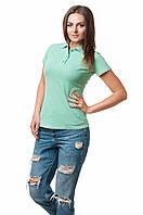 Женская футболка-поло классического кроя по фигуре, мятная