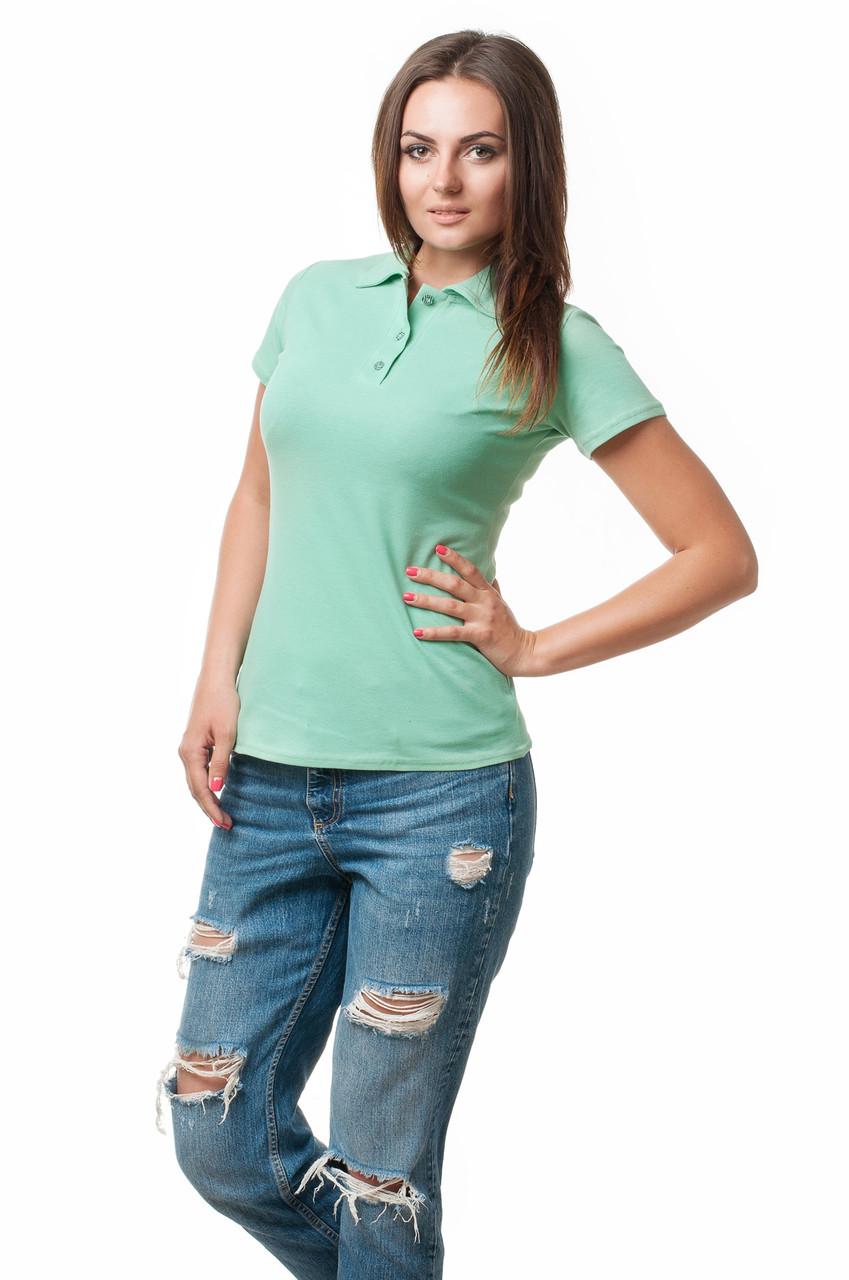 Жіноча футболка-поло класичного крою по фігурі, м'ятна