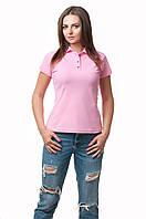 Женская футболка-поло классического кроя по фигуре, розовая