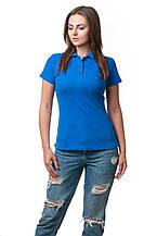 Женская футболка-поло классического кроя по фигуре, цвета электрик