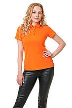 Женская футболка-поло классического кроя по фигуре, оранжевая