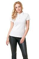 Женская футболка-поло классического кроя по фигуре, белая