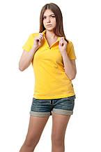 Женская футболка-поло классического кроя по фигуре, желтая