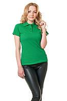 Женская футболка-поло классического кроя по фигуре, цвета зеленой травы