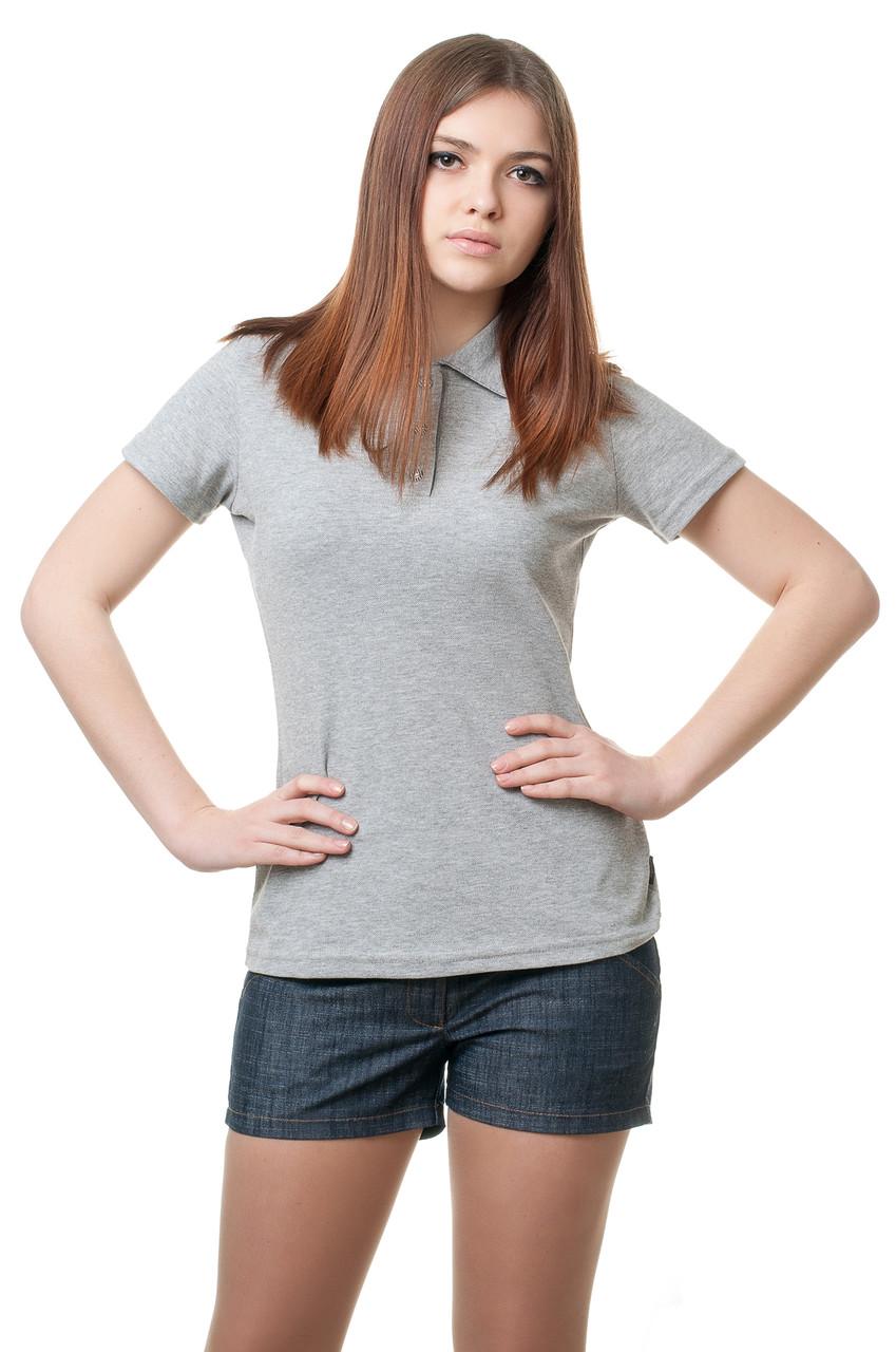 Женская футболка-поло классического кроя по фигуре, меланжевая