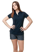 Женская футболка-поло классического кроя по фигуре, темно-синяя