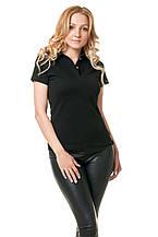 Женская футболка-поло классического кроя по фигуре, черная