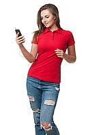 Женская футболка-поло классического кроя по фигуре, красная