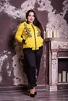 Модный молодёжный спортивный костюм с цветочной аппликацией батал с 48 по 82 размер