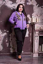 Модный молодёжный спортивный костюм с цветочной аппликацией батал с 48 по 82 размер, фото 2