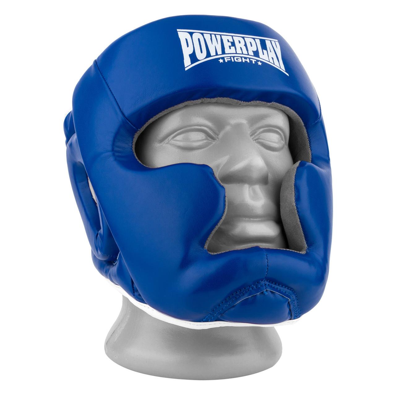 Боксерский шлем тренировочный PowerPlay 3068 PU + Amara Синий XS / S / M