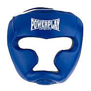 Боксерский шлем тренировочный PowerPlay 3068 PU + Amara Синий XS / S / M, фото 4