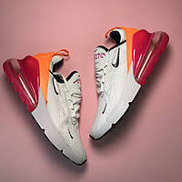 Женские кроссовки Nike Air Max 270 White Orange Pink белые 36