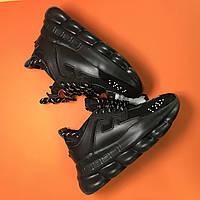 Женские кроссовки Versace Chain Reaction Black черные 36