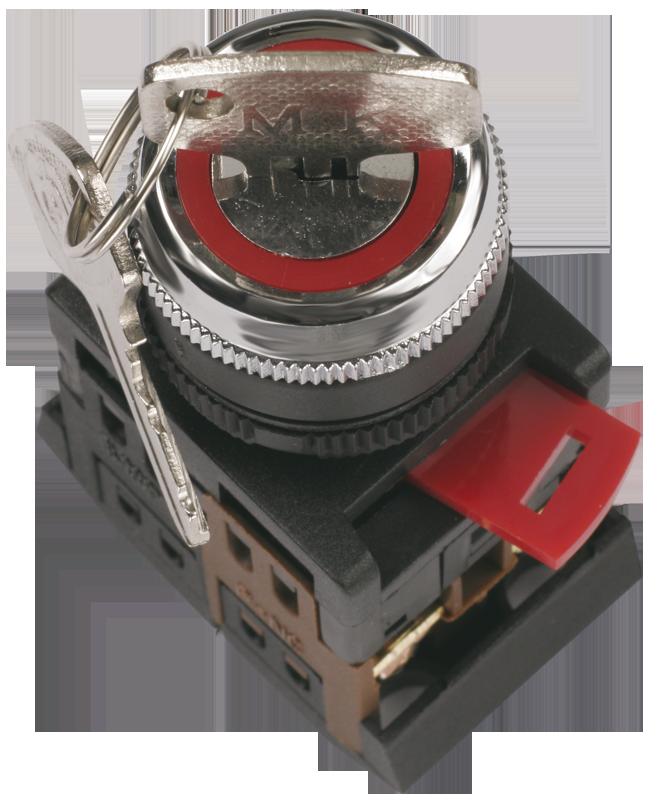 Переключатель АKS-22 черный с ключ. 2 полож. I-O 1з+1р ИЭК