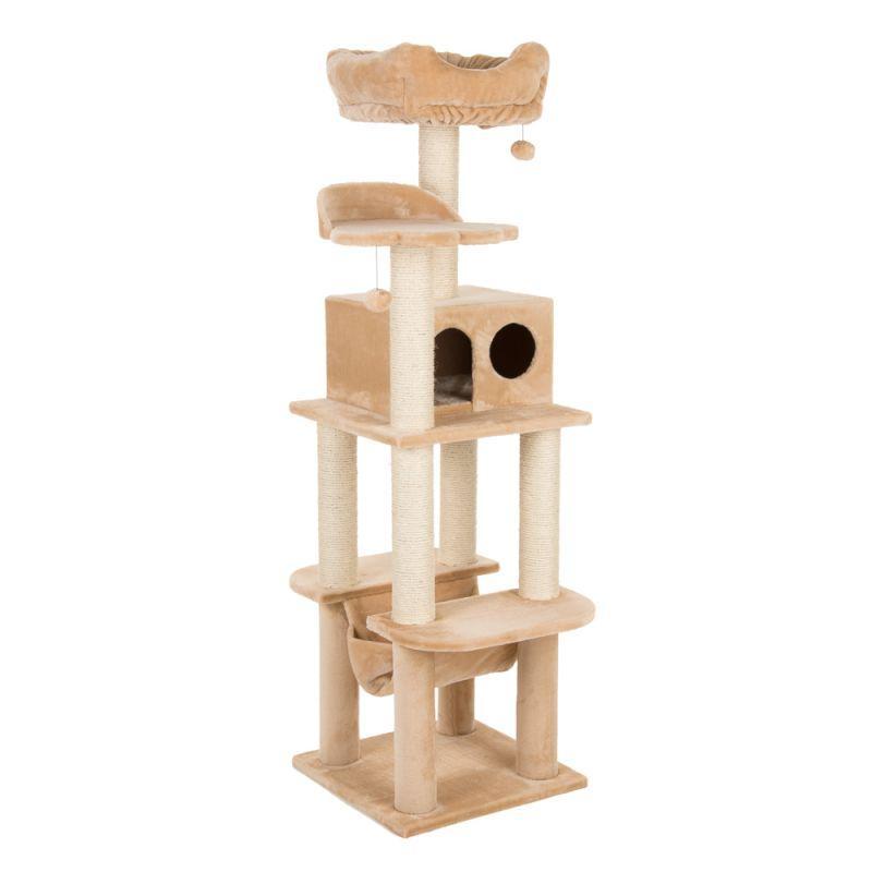 Игровой комплекс для котов с когтеточкой и домиком Legrand Cat бежевый, когтеточка и домик для кота