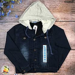 Джинсовая куртка с пришитым капюшоном Размеры: 134,140,146,152 см (8765)