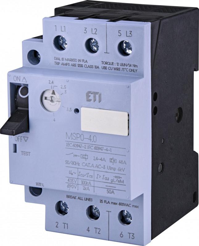 Авт. вимикач захисту двигуна MSP0-4,0 (1,1-1,5 kW, 2.4-4A)