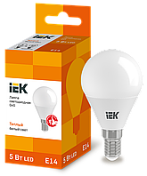 Лампа светодиодная ECO G45 шар 5Вт 230В 3000К E14 IEK