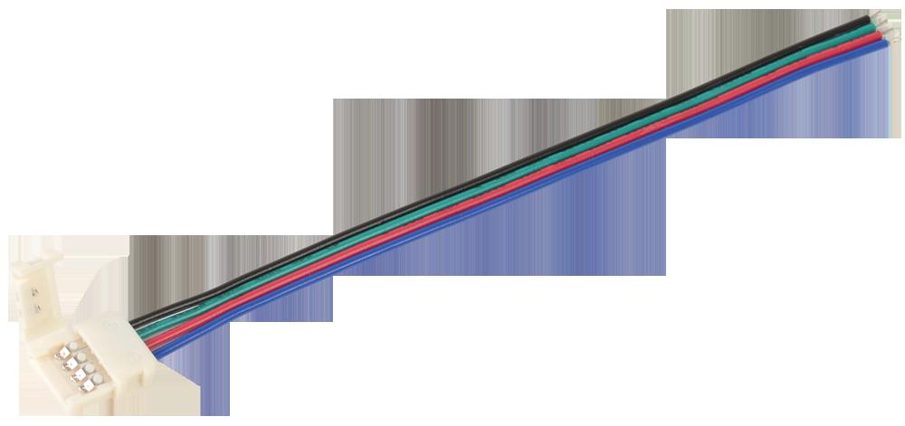 Коннектор 5шт RGB 10 мм ( - 15 см - разъем) IEK