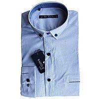 Рубашка для мальчика Bazzolo подростковая длинный рукав трансформер приталенная белая с принтом