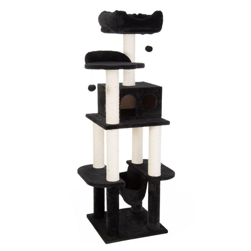 Игровой комплекс для котов с когтеточкой и домиком Legrand Cat черный, когтеточка и домик для кота