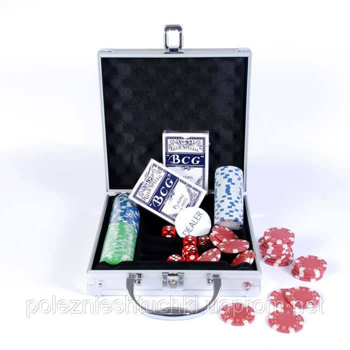 Набор для игры в покер в алюминиевом кейсе, 100 фишек.