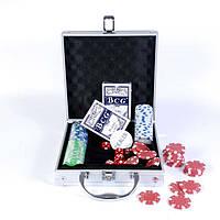 Набор для игры в покер в алюминиевом кейсе, 100 фишек., фото 1