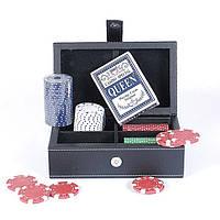 Набор для игры в покер в кожаном кейсе.
