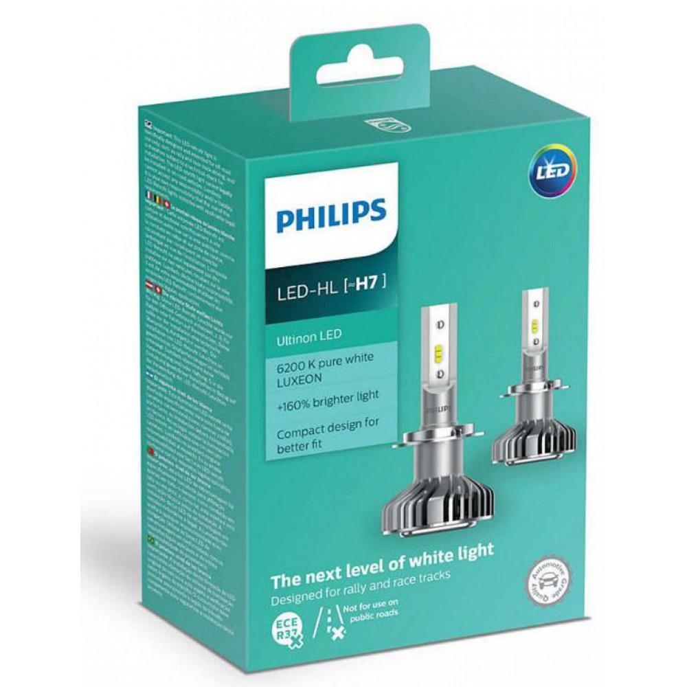 LED лампы Philips Ultinon H7 +160% 6200K 11972ULWX2