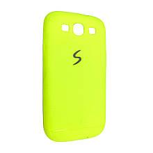 Чехол-накладка DK-Case силикон хром лого под кожу для SAMSUNG S3 (light green)