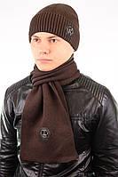 Однотонный мужской набор - состоит из шарфа и стильной шапки, фото 1