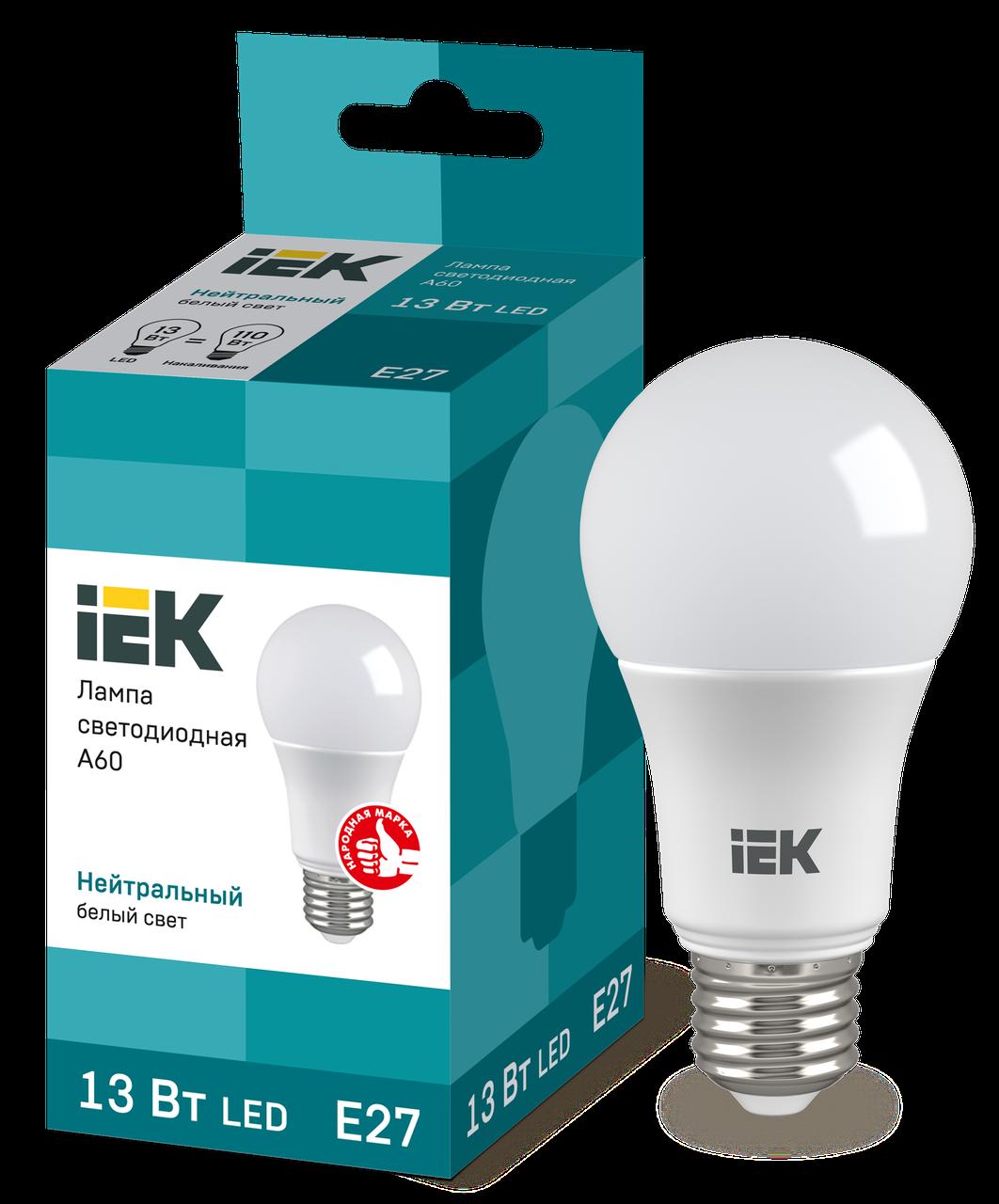 Лампа светодиодная ECO A60 шар 13Вт 230В 4000К E27 IEK