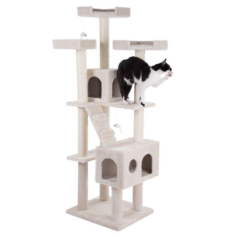 Ігровий комплекс для кішок з когтеточку і будиночком Prince кремовий, когтеточка і будиночок для кота