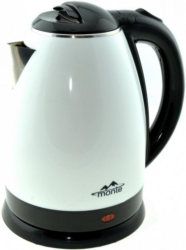 Электрический чайник Monte белый с черным MT-1806B 1.8 л настольный кухонный
