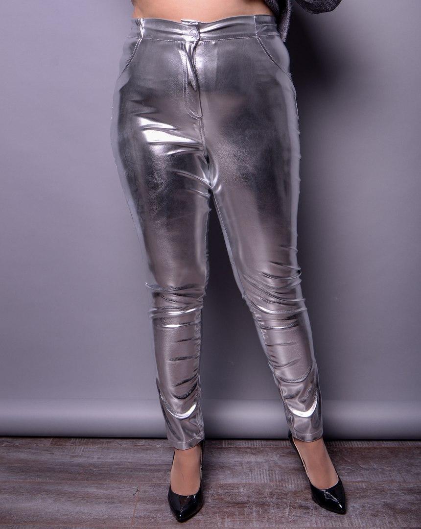 Ультрамодные женские брюки из металлизированной экокожи больших размеров с 48 по 82