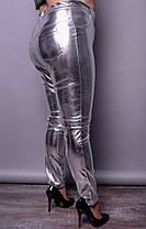 Ультрамодные женские брюки из металлизированной экокожи больших размеров с 48 по 82, фото 3