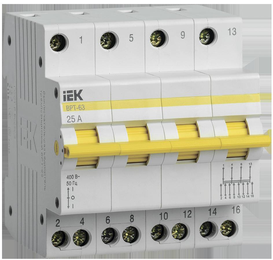 Выключатель-разъединитель трехпозиционный ВРТ-63 4P 25А IEK