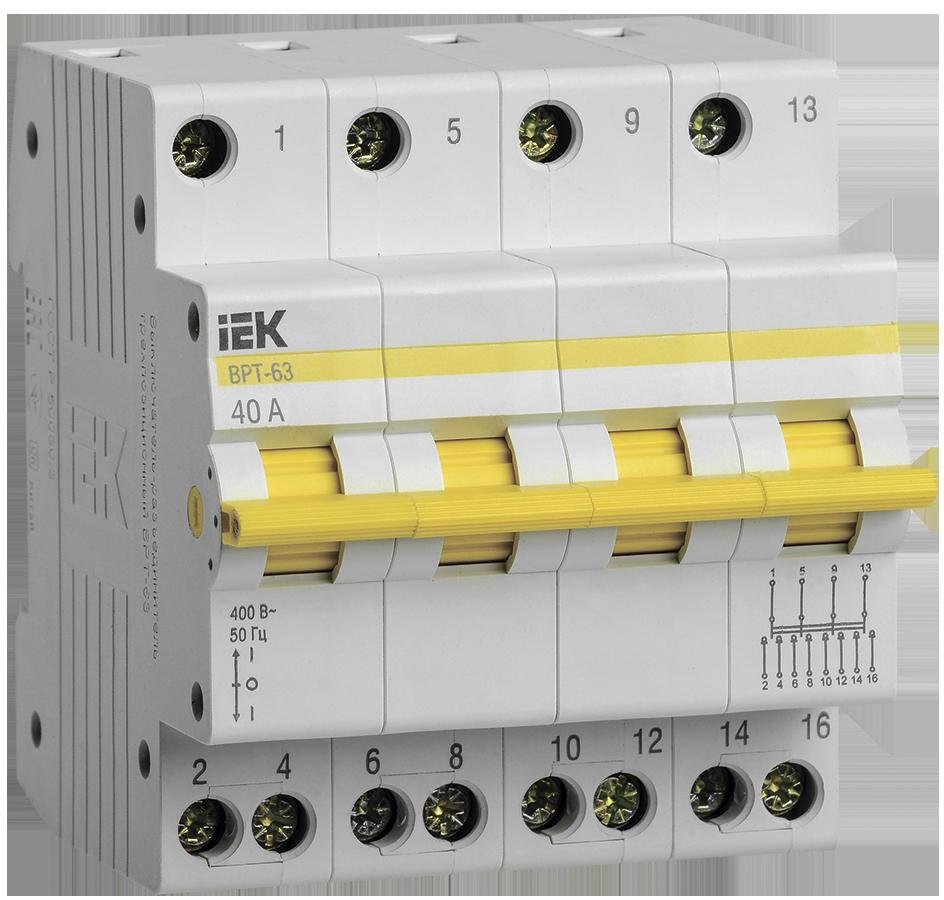 Выключатель-разъединитель трехпозиционный ВРТ-63 4P 40А IEK