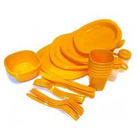 🔝 Набор пластиковой посуды для пикника, Bita, 48 предметов, набор пикник, цвет - оранжевый | 🎁%🚚